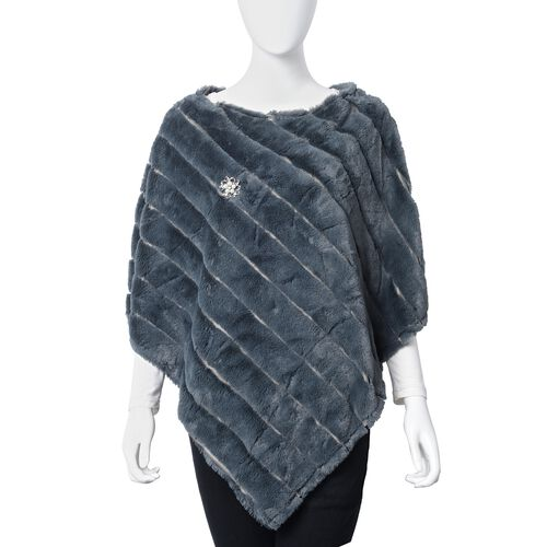 Grey Colour Faux Fur Poncho and Brooch (Size 95x78 Cm)