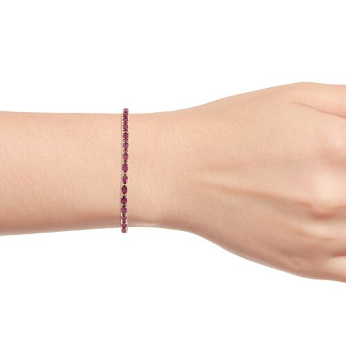 9K Yellow Gold AA African Ruby (Ovl) Bolo Adjustable Bracelet (Size 6.5 - 9)  5.500 Ct, Gold wt 5.63 Gms.