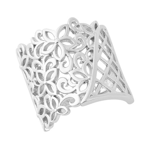 LucyQ Lace Collection Filigree Ring in Rhodium Plated Sterling Silver 6.09 Grams