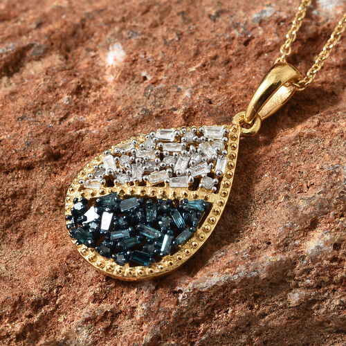 Blue and White Diamond (Rnd and Bgt) Pendant With Chain (Size 20) in 14K Yellow Gold Overlay with Blue Plating Sterling Silver 0.330 Ct.