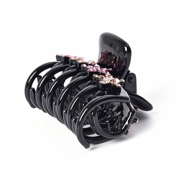 Crystal Studded Hair Claw Clip - Champagne and Light Pink