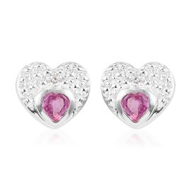 African Ruby and Diamond Heart Stud Earrings (with Push Back) in Sterling Silver