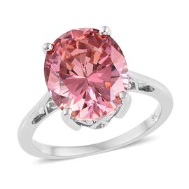 J Francis 9K White Gold (Ovl) Ring (Size P) Made with Pink SWAROVSKI ZIRCONIA, Gold wt 2.52 Gms.
