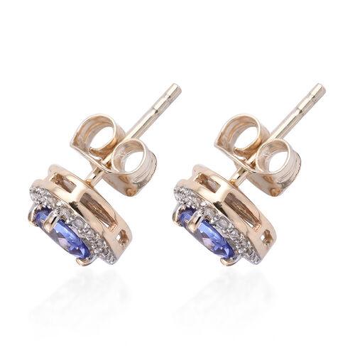 9K White Gold AA Tanzanite (Hrt), Diamond Stud Earrings (with Push Back) 1.000 Ct.