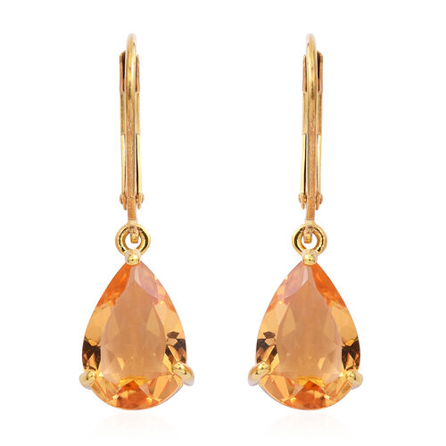Uruguay Citrine (Pear) Lever Back Earrings in Gold Overlay Sterling Silver 5.00 Ct.