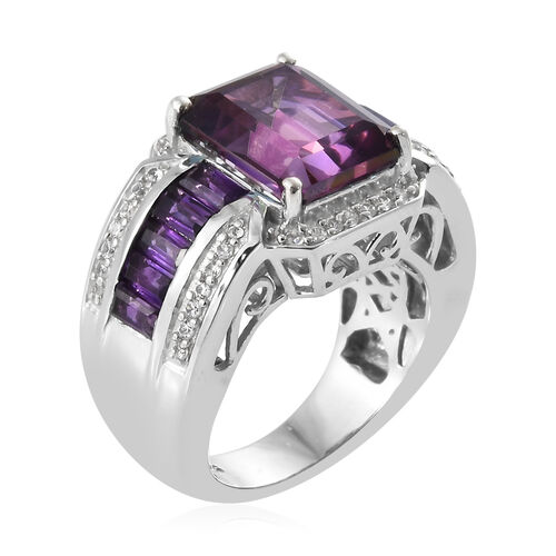 Lulaby Mystic Topaz (Oct), Amethyst, Natural Cambodian Zircon Ring in Platinum Overlay Sterling Silver 7.500  Ct, Silver wt; 8.40 Gms.