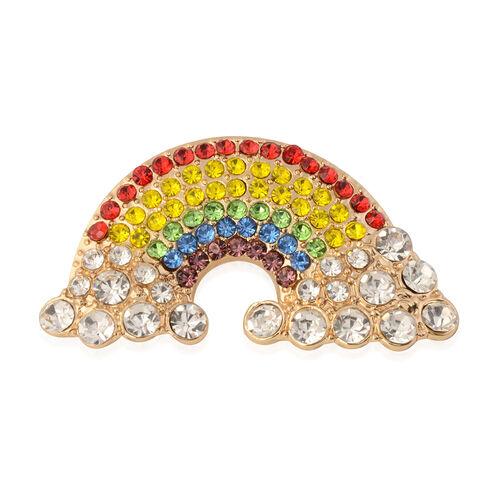 Multi Colour Crystal Studded Rainbow Brooch