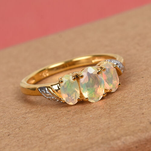 AA Ethiopian Welo Opal Ring in 14K Gold Overlay Sterling Silver 0.60 Ct.