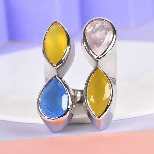Sundays Child - Yellow Onyx, Rose Quartz and Blue Onyx Ring in Platinum Overlay Sterling Silver 18.30 Ct, Silver wt. 14.4 Gms