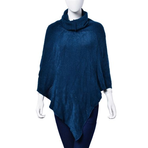 Dark Blue Colour Long Collar Poncho (Free Size)