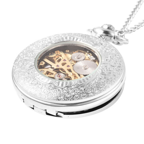 GENOA Automatic Mechanical Skeleton Pocket Watch with Chain in Silver Tone