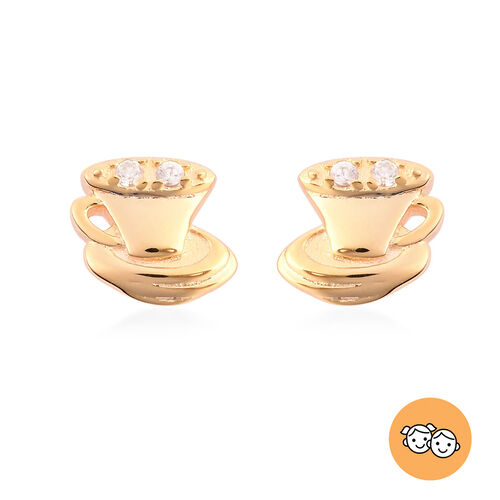 RACHEL GALLEY - Natural Cambodian Zircon Tea-Cup and Saucer Stud Earrings (with Push Back) in Yellow