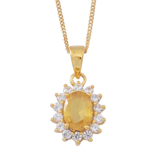 Chanthaburi Yellow Sapphire (Ovl 1.15 Ct), Natural White Combodian Zircon Pendant with Chain (Size 18) in 14K Gold Overlay Sterling Silver 1.750 Ct.