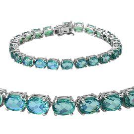 Peacock Quartz (Ovl 8x6 mm) Bracelet (Size 8) in Platinum Overlay Sterling Silver 33.00 Ct, Silver w