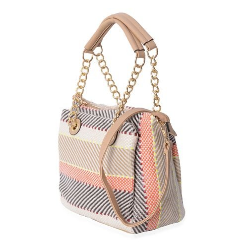 Off White, Black and Multi Colour Tote Bag with Removable and Adjustable Shoulder Strap (Size 27x25x11.5 Cm)
