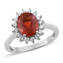 RHAPSODY 950 Platinum AAAA Jalisco Fire Opal (Ovl 1.20 Ct), Diamond (VS1-E-F) Ring 1.50 Ct.
