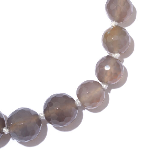Grey Quartzite Ball Beads Graduated Necklace (Size 18 with 2 Inch Extension) in Platinum Overlay Sterling Silver 213.750 Ct.