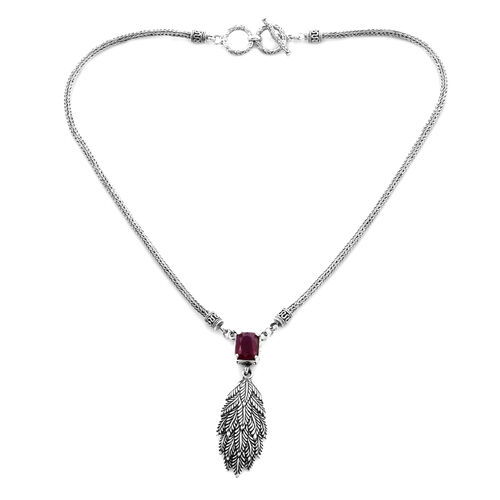 Royal Bali Collection - African Ruby (Cush) Necklace (Size 17) in Sterling Silver 4.92 Ct, Silver wt