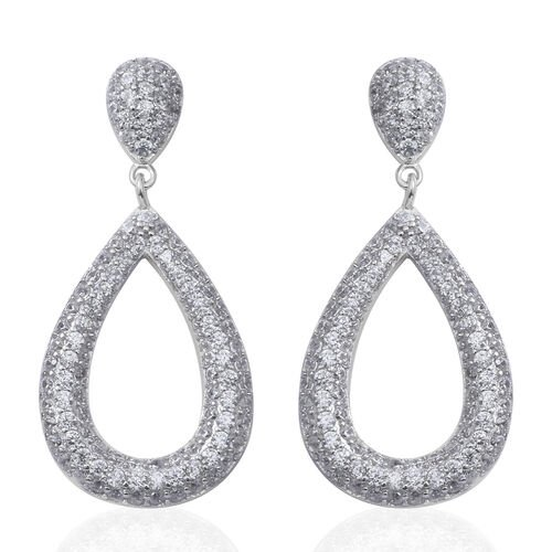 ELANZA Simulated Diamond (Rnd) Teardrop Dangle Earrings (with Push Back) in Rhodium Overlay Sterling Silver, No of Zircon 206 Pcs