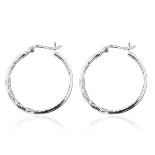 Rhodium Overlay Sterling Silver Hoop Earrings (With Clasp), Silver Wt: 4.46 Gms