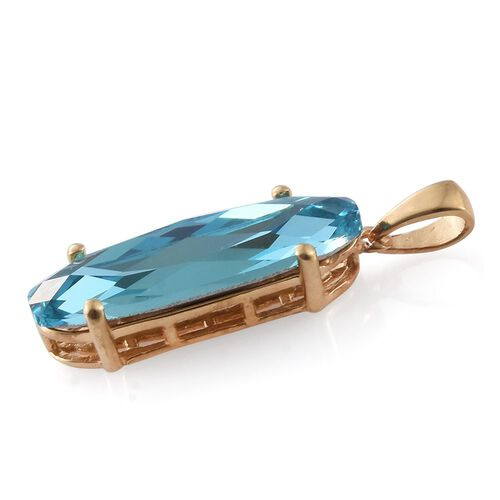 J Francis Crystal from Swarovski - Light Turquoise Crystal (Ovl) Solitaire Pendant in 14K Gold Overlay Sterling Silver