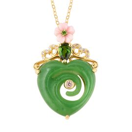 Carved Green Jade, Pink Mother of Pearl, Natural White Cambodian Zircon and Russian Diopside Pendant