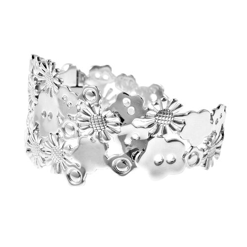 LucyQ Floral Collection - Rhodium Overlay Sterling Silver Cuff Bangle (Size 7),  Sliver Wt. 43.79 Gms