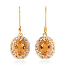 Citrine (Ovl), Natural White Cambodian Zircon Lever Back Earrings in Yellow Gold Overlay Sterling Si