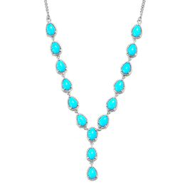 Arizona Sleeping Beauty Turquoise (Pear) Necklace (Size 18) in Platinum Overlay Sterling Silver 10.0