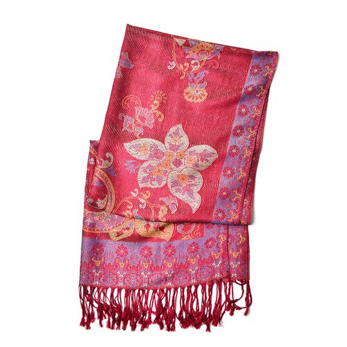 Red, Blue and Multi Colour Floral and Paisley Pattern Scarf with Tassels (Size 170X68 Cm)