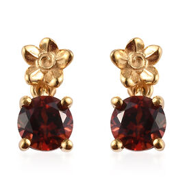 Mozambique Garnet (Rnd) Earrings in 14K Gold Overlay Sterling Silver 1.07 Ct.