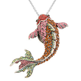 Multi Colour Austrian Crystal Fish Detachable Magnetic Brooch Pendant with Chain (Size 24) in Antiqu