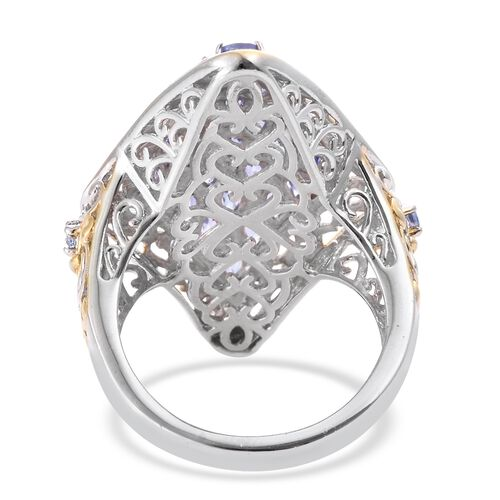Tanzanite (Mrq) Cluster Ring in Platinum and Yellow Gold Overlay Sterling Silver 4.250 Ct. Silver wt. 8.50 Gms.