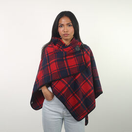 Red Check Knit Poncho (Size 70x75cm)