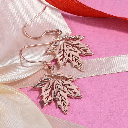 Rose Gold Overlay Sterling Silver Maple Leaf Hook Earrings, Silver wt 6.00 Gms