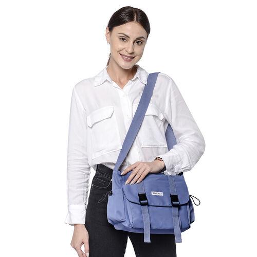 PASSAGE Blue Colour Crossbody Bag with Drawstring Pockets on Sides (36x11x23cm)