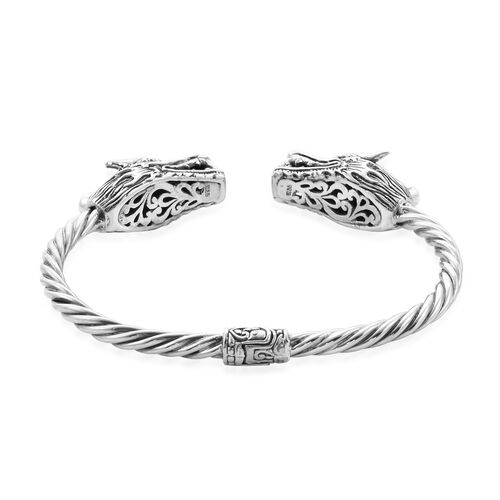 Royal Bali Collection - Arizona Sleeping Beauty Turquoise (Ovl 7x5mm) Dragon Head Bangle (Size 7.5) in Sterling Silver, Silver wt. 31.50 Gms