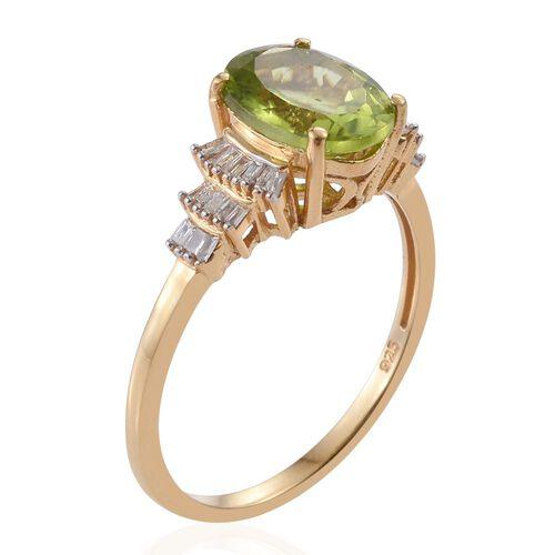 Rare Size Hebei Peridot (Ovl10x8), Diamond Ballerina Ring in 14K Gold Overlay Sterling Silver 3.150 Ct.