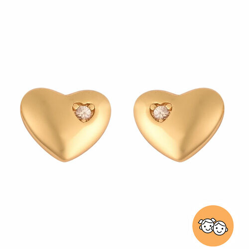Heart Earrings for Children with Zircon in Gold Plated Silver