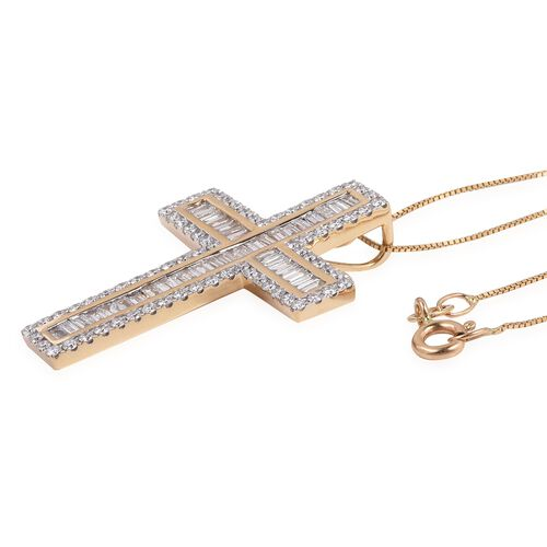 Collectors Edition- ILIANA 18K Yellow Gold IGI Certified Diamond (SI/G-H) (Bgt and Rnd) Cross Pendant With Chain 2.050 Ct , Gold wt 7.00 Gms.