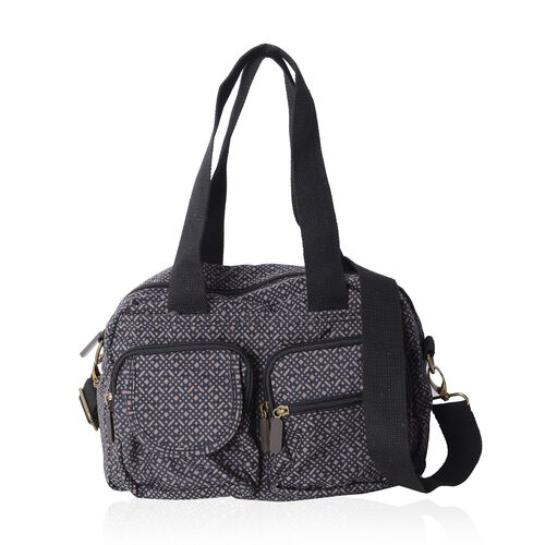 Annabelle Water Resistan Black Small Check Pattern LargeTote Bag with Removable Shoulder Strap and External Zipper (Size 30x20x9 Cm)