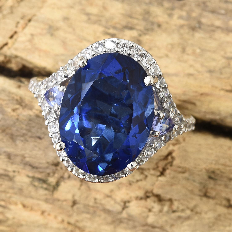 Ceylon Color Quartz Ring Platinum Plated Silver Tanzanite Blue Diamond