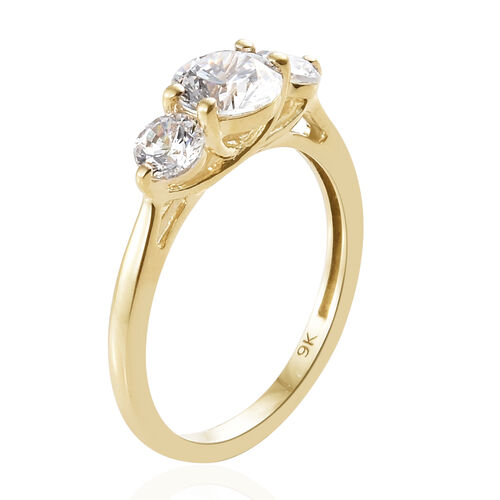 J Francis - 9K Yellow Gold (Rnd 6 mm) Three Stone Ring Made With SWAROVSKI ZIRCONIA
