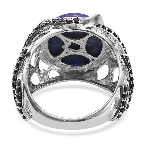 GP Lapis Lazuli (Rnd 6.00 Ct), Boi Ploi Black Spinel and Kanchanaburi Blue Sapphire Ring in Platinum Overlay Sterling Silver 6.530 Ct.