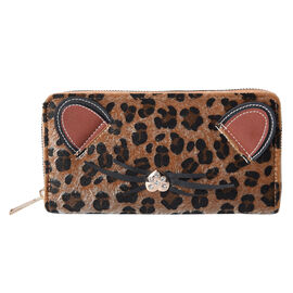 Brown Leopard Pattern with Ears and Nose Details Clutch Wallet (Size 19.5x3x9.5cm) with Zipper Closu