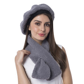 Super Soft Faux Fur Beret Hat and Scarf Set - (Scarf:13x92cm) (Hat:One Size) - Grey