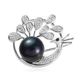 Freshwater Peacock Pearl and Blue Diamond Peacock Brooch in Sterling Silver, Silver wt 5.90 Gms