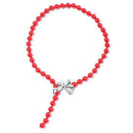Coral Colour Shell Pearl (Rnd),Necklace (Size 16 to 18 Adjustable) with Openable Bow Lock in Silver
