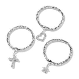 Set of 3 - White Austrian Crystal Popcorn Bracelet with Charms ( Adjustable) in Silver tone