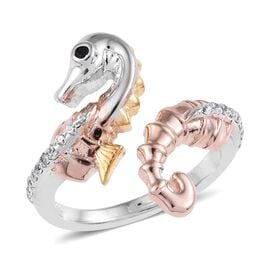 Boi Ploi Black Spinel (Rnd), Natural Cambodian Zircon Sea Horse Design Ring in Platinum, Rose and Ye